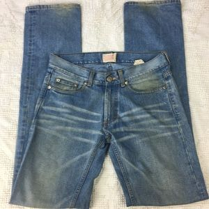 Acne Action Jeans Distressed Straight Leg Long
